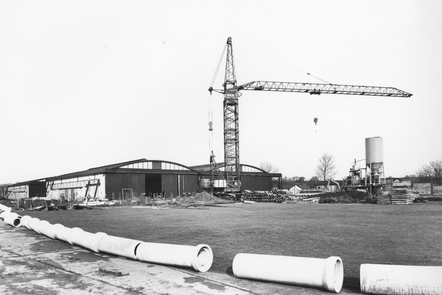 A crane over what was to become the Historic Hangers, the original RAF Museum in Hendon.