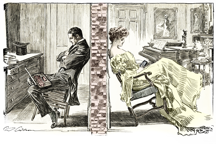 Turn-of-the-twentieth-century illustration showing a young man and a young woman sitting with their chair backs against a party wall that divides their living space. A laptop and mobile phone have been added to the image.
