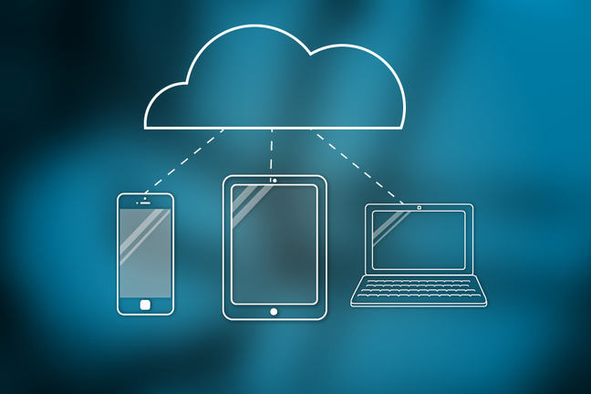 Cloud with different computer devices