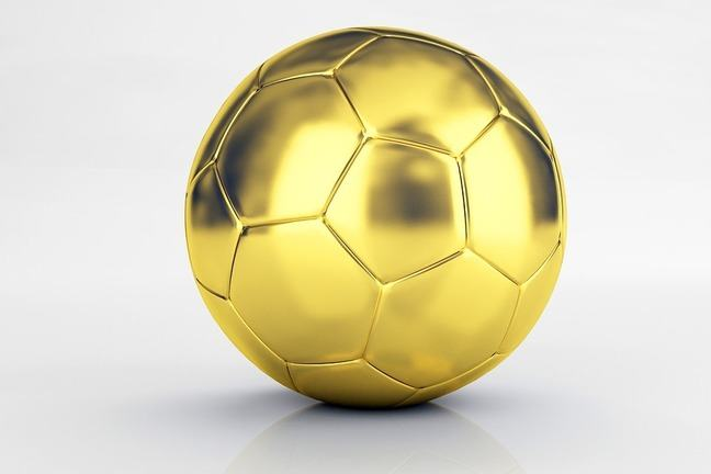 A gold coloured 32-panel football.