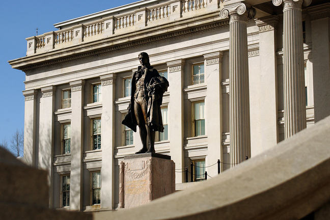 Statue of Alexander Hamilton in front of US Treasury Building