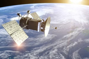 A satellite in orbit generates power from solar panels and communicates with people on Earth.