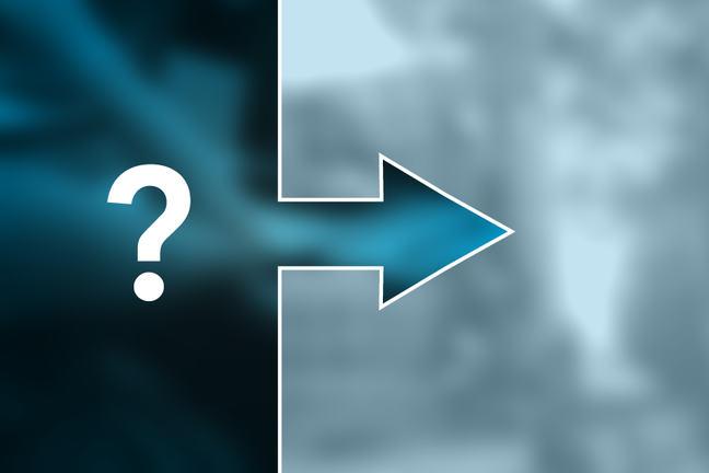 Question mark and arrow