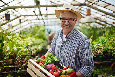 Farmer in greenhouse smiling at the camera