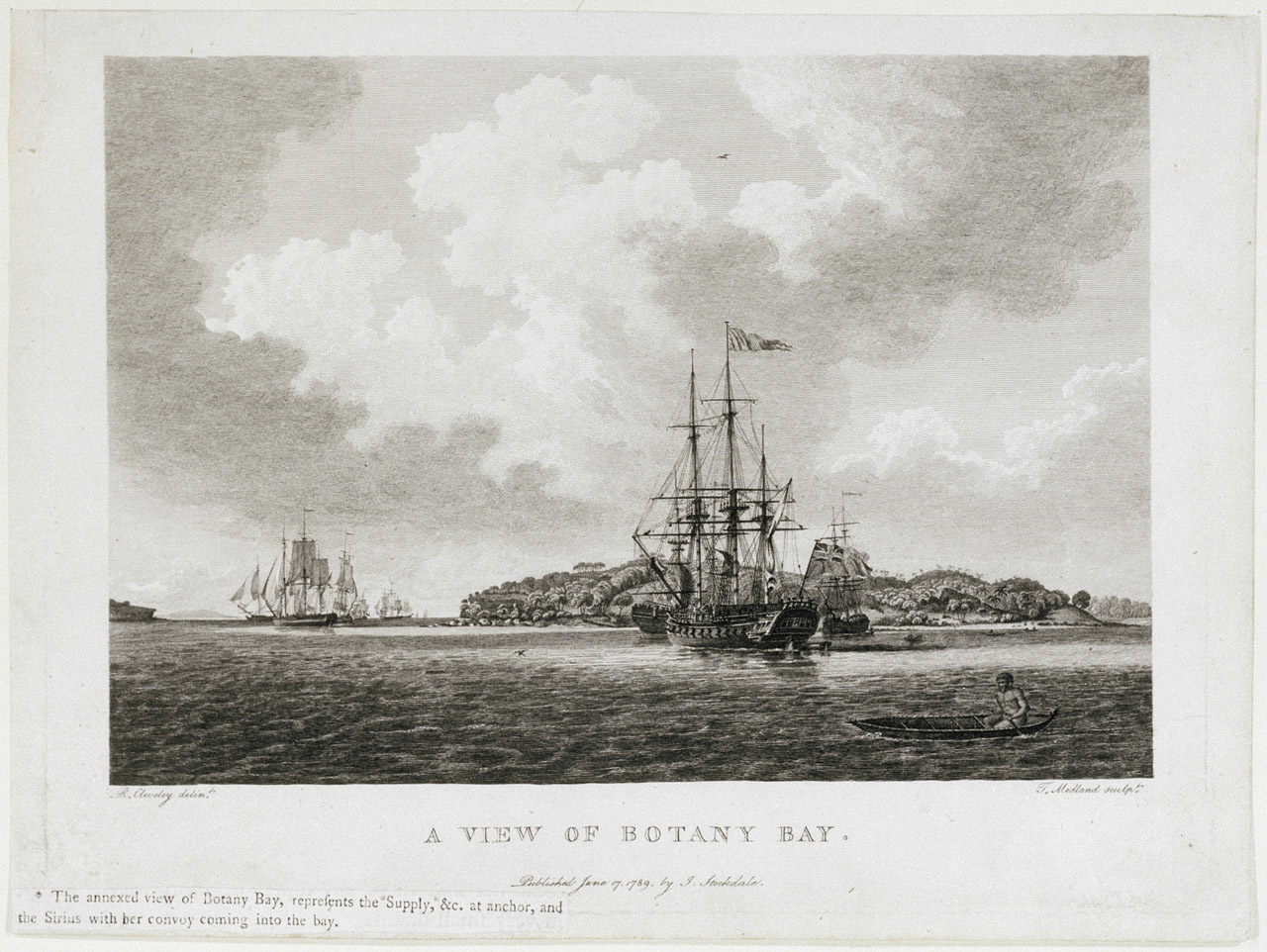 A print of a large sailing ship in foreground on sea, label reads A View of Botany Bay
