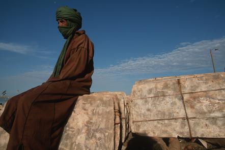 Salt merchant on the banks of the Niger River, Mopti, Mali.