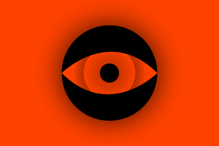 A black icon of an eye on a red background