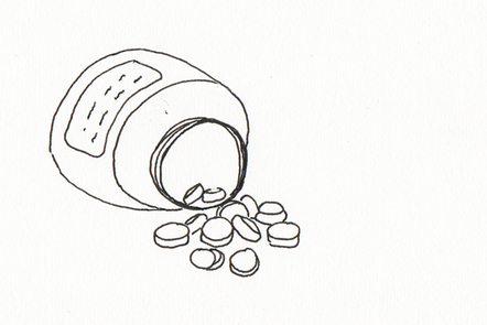 Illustration of a large pill bottle with the lid off is on its side. Pills are scattered next to it.