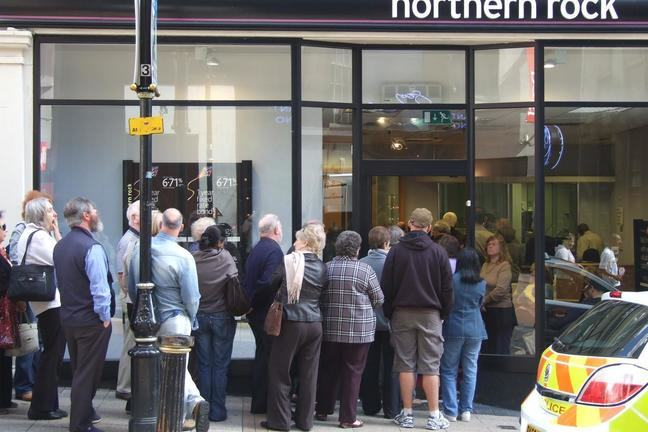 A picture of a bank run outside a branch of Northern Rock in Birmingham, United Kingdom in 2007, when there was speculation about problems with bank.