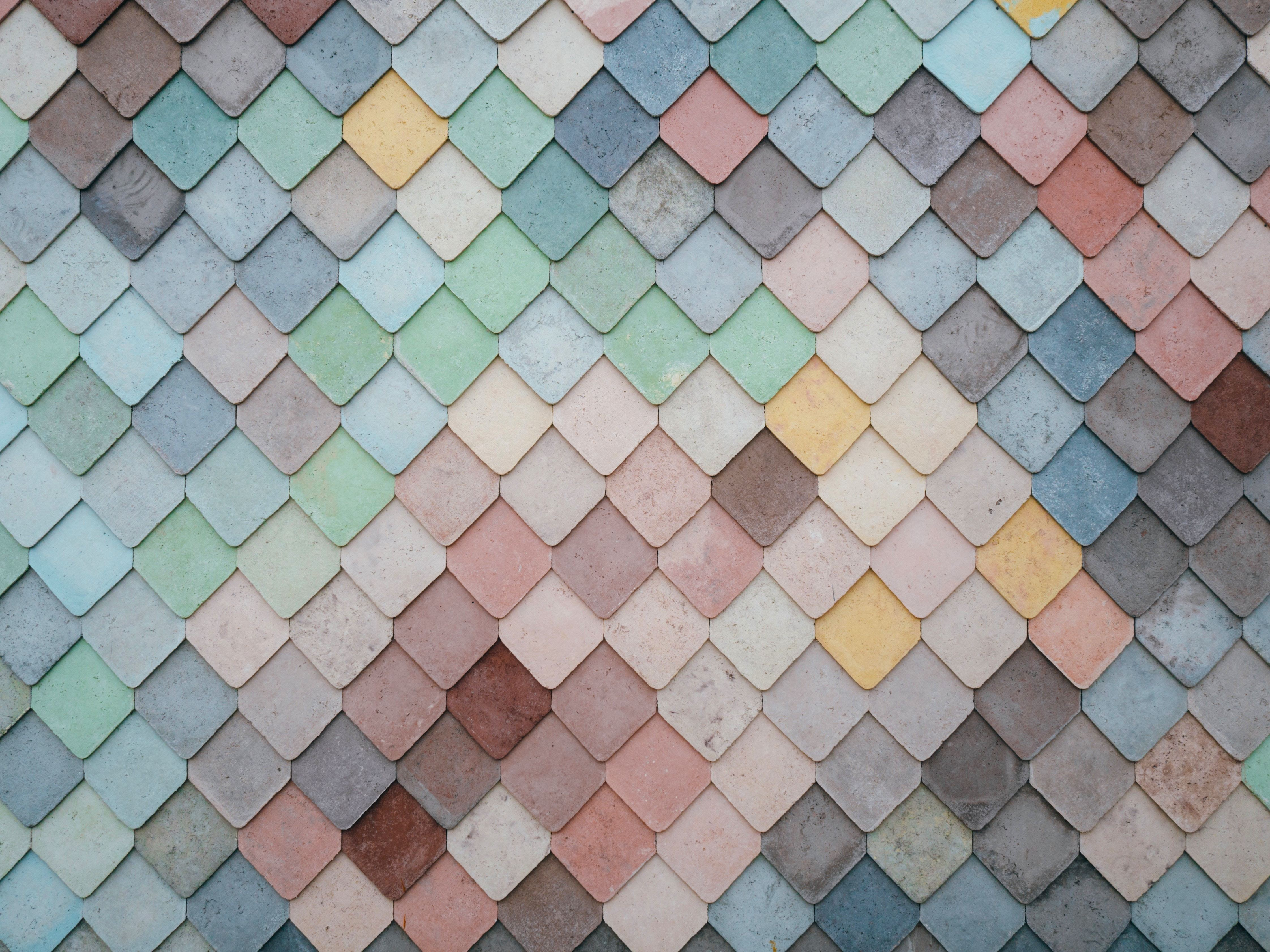 Multicoloured tiles making a pattern