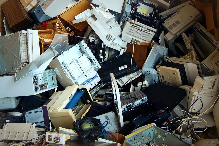 A pile of junked computer equipment