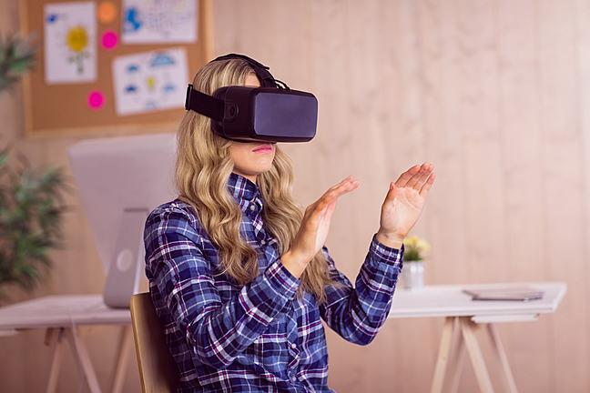 Woman using Oculus Rift VR headset
