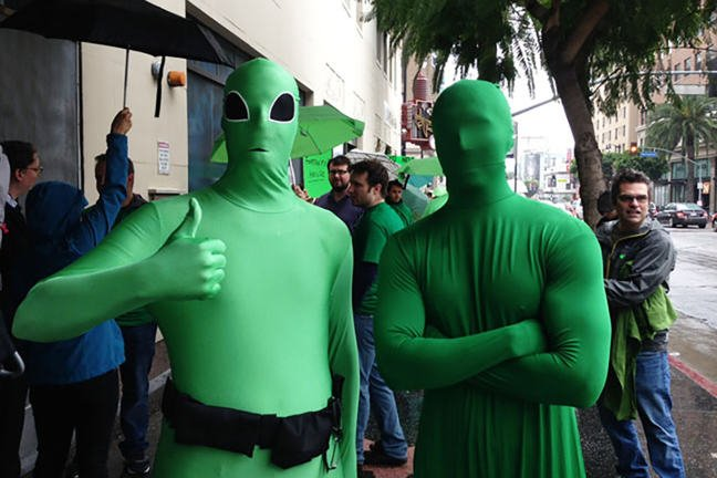 Green leotard protesters