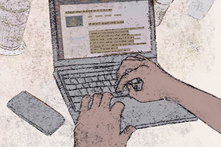 Illustration social reading: two hands operating a laptop.