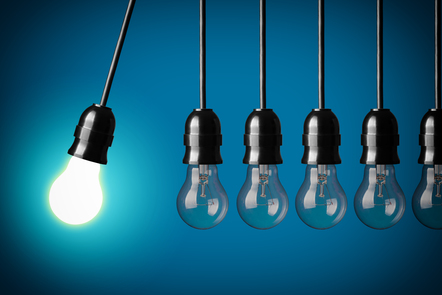 5 light bulbs with one lighted