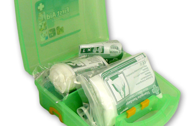 A green plastic box containing a basic first aid kit