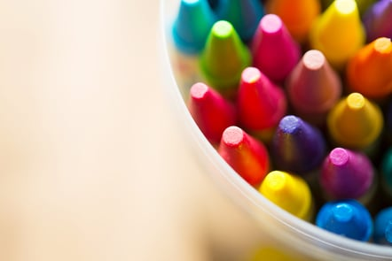 Different coloured crayons