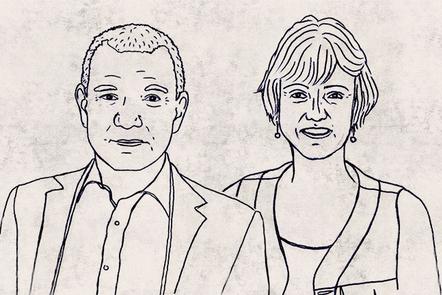 Illustration of Stephen Greenblatt and Jane Tompkins