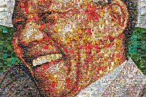 The photo collage of Nelson Mandela, as a symbol of justice, was constructed using over 1000 photos of the buildings, staff, students, flora and fauna in the vicinity of Stellenbosch University.