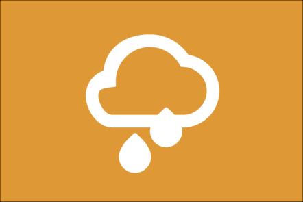 Weather icon of a cloud and 2 raindrops