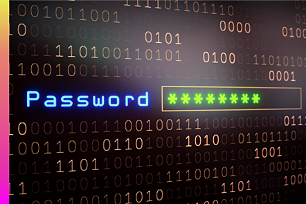 An image of a password input on binary code.