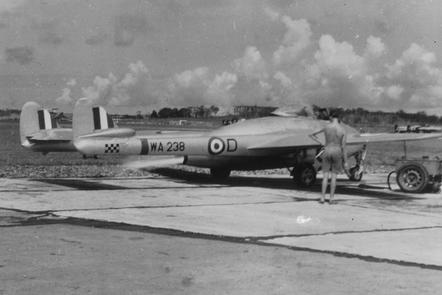 The RAF deployed in a faraway field.
