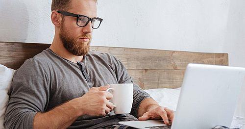 Man taking a microcredential online