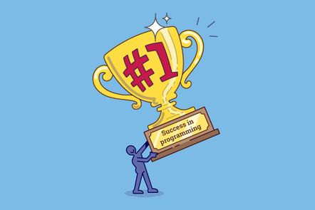 "A person with a large trophy reading ""#1 Success in programming"""