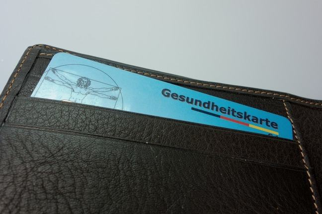 German electronic health card in a wallet