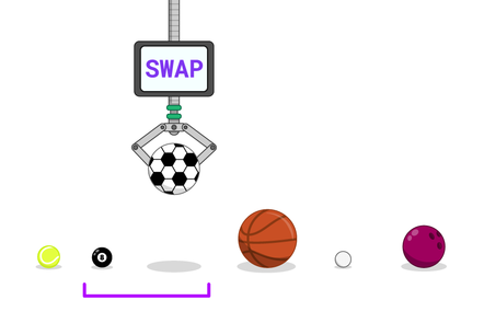 "A robot claw, with a screen on it showing the word ""SWAP"" has picked up a football from an unsorted set of sports balls. A purple bracket under the balls contains both this claw and football, and a pool ball to the left."