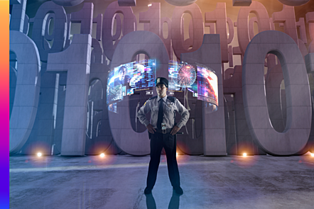 Police officer standing in front of hologram screens defending binary code