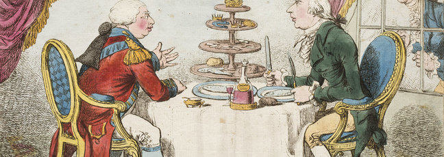 A drawing of King George the third and Henry Addington sat at a dining table