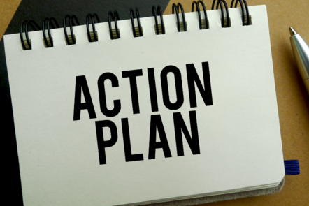 Notepad with 'action plan' written on it (image: ©Shutterstock)