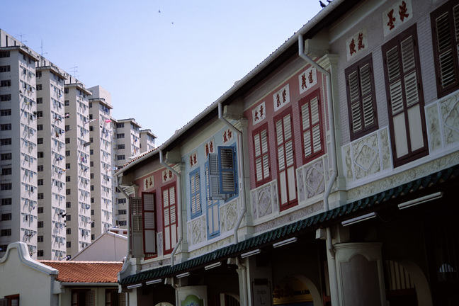 Colourful decorated shuttered apartment building in Singapore