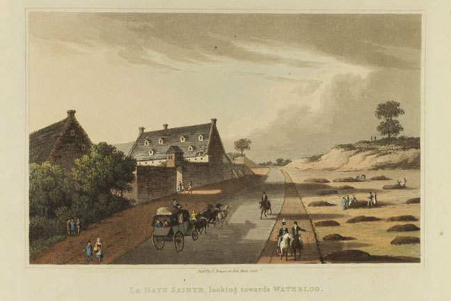 Coloured engraving showing tourists walking and in carriages at La Haye Sainte.