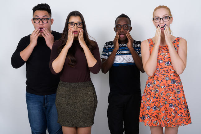Four people with shocked expressions