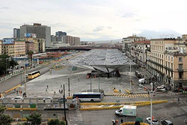 Panoramic view of Piazza Garibaldi, Naples