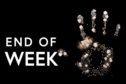 Hand print with text saying end of week