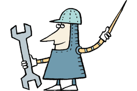Illustration of a male medieval knight holding a sword in one hand and a spanner in the other
