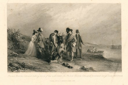 Engraving, based on Scott's novel Redgauntlet, of Prince Charles Edward Stewart taking leave of his adherents