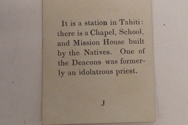 clue for a card game, letter J. Text reads 'It is a station in Tahiti, there is a chapel, school and mission house built by the natives. One of the deacons was formerly an idolatrous priest