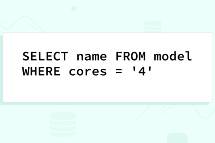 "The SQL statement ""SELECT name FROM model WHERE cores = '4' """