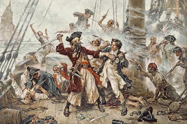 The capture of the pirate Blackbeard.