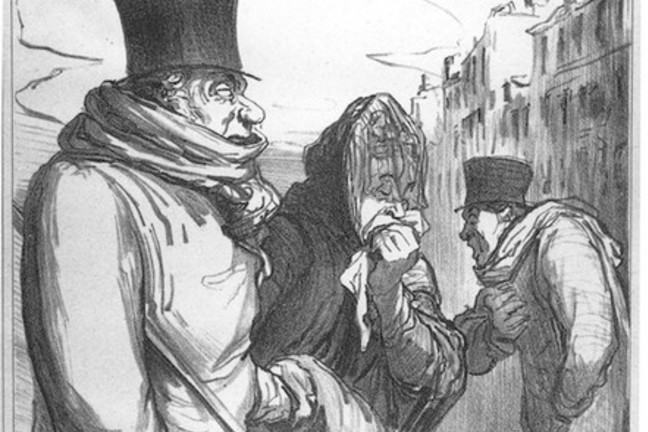 "drawing by Honore Daumier from 1864, entitled ""Paris, influenza"""