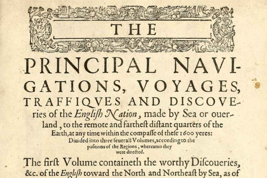 Original 16th century frontispiece of the book 'The Principal Navigations, Voyages and Discoveries' by Richard Hakluyt, 1589