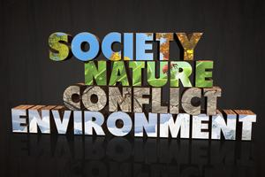 A graphic of the words society, nature, conflict and environment