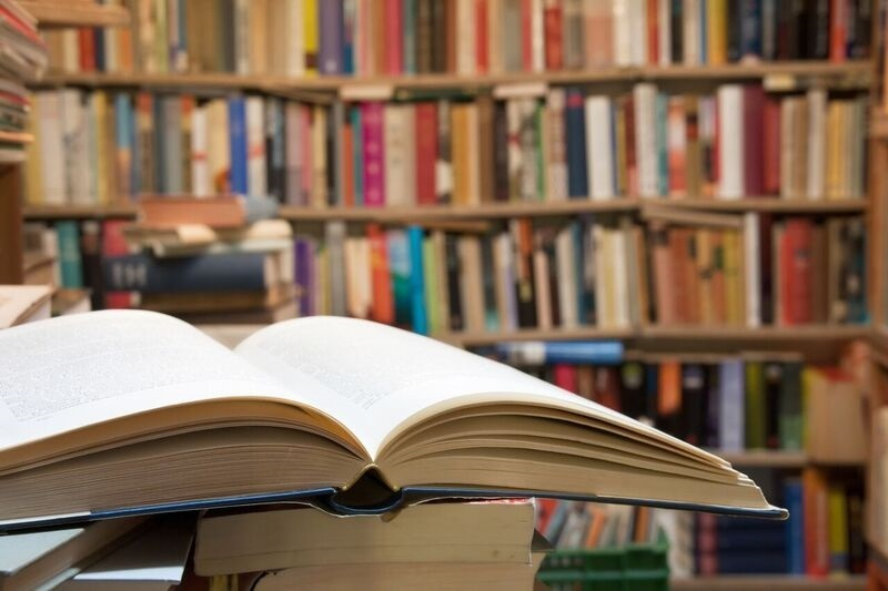Open book in library
