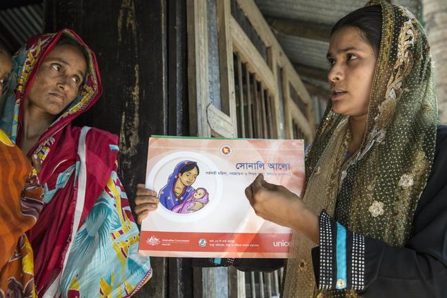 A female health care worker points to pictures on a chart while talking to a female patient.