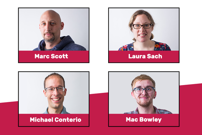 A picture of the four educators who will support you throughout the course - Marc, Laura, Michael and James
