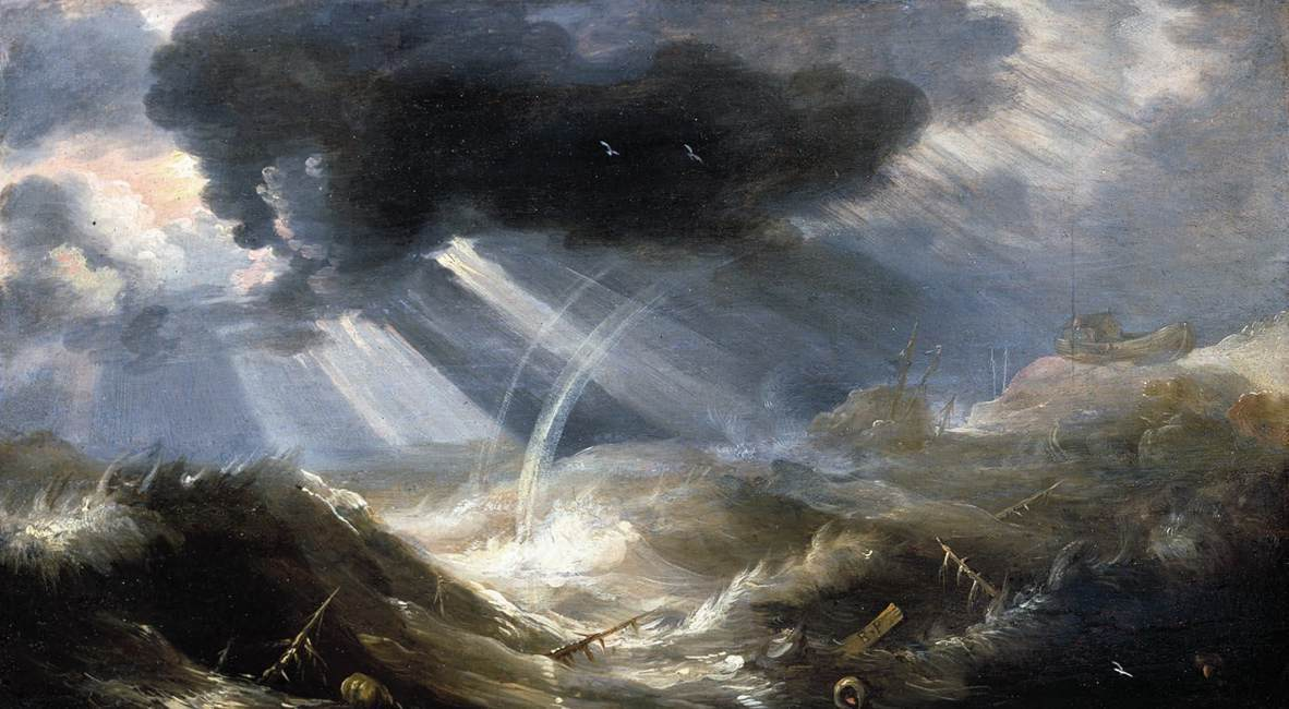 A painting of a great flood in the 1700's showing huge waves and damage to boats and infrastructure